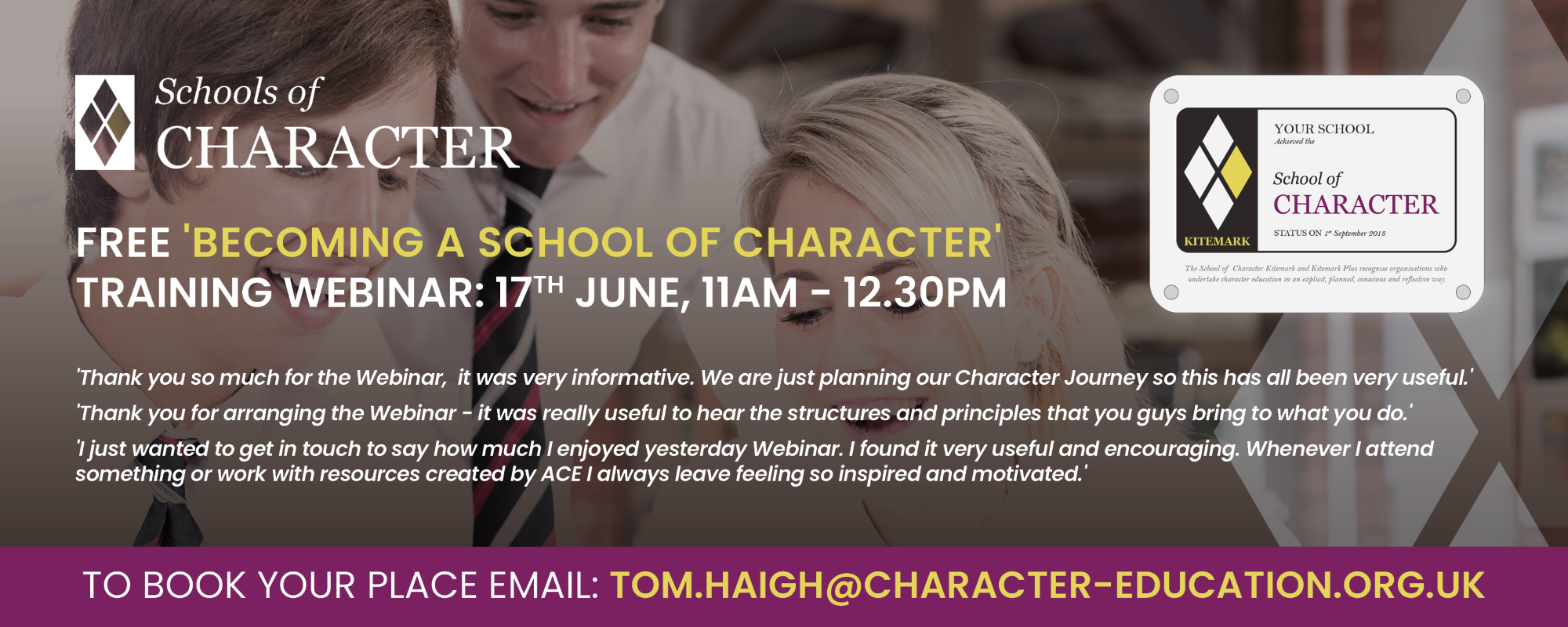 Free 'Becoming a School of Character' Training Webinar: 17th June, 11am - 12.30pm